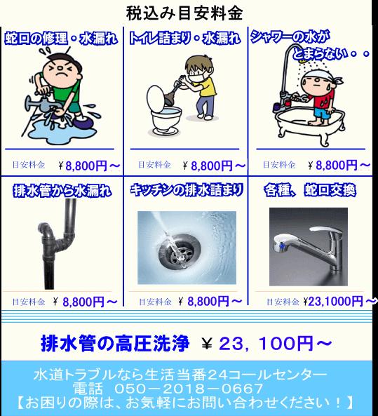 日野市hinoshi 水回りトラブル修理一覧りょうきn